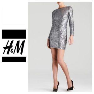 H&M Silver Long Sleeve Mini